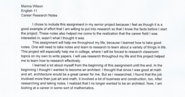 career research paper project Final projects: research paper experience and an educational degree in order to enjoy a successful career sample research paper a- hrm.